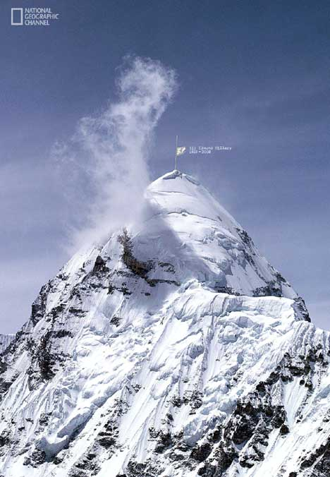 White flag on Mt Everest in National Geographic Channel tribute to Edmund Hillary