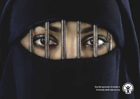 Women in burka behind bars in ISHR print advertisement