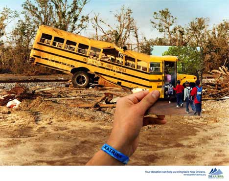 New Orleans Bus print advertisement for Katrina Foundation for Recovery