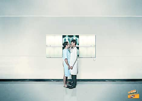 Patient and radiographer stand close in PK Gum print ad