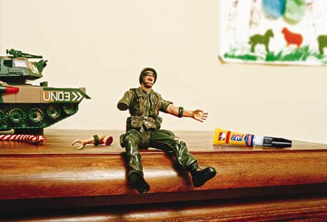 Broken toy soldier cries out for Super Glue