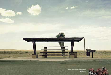 Suzuki Bus Stop print advertisement - California