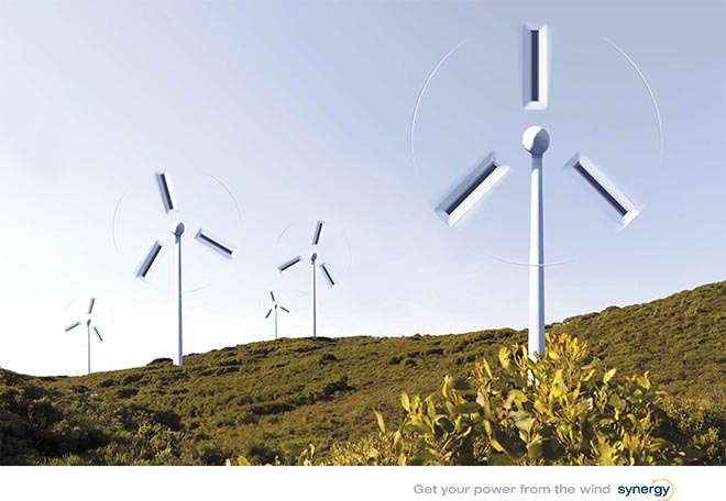 Socket-shaped wind turbines in Synergy print ad