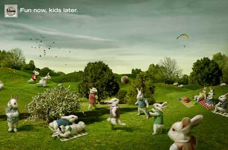 Rabbits play football in Tulipan print advertisement