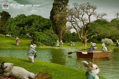 Rabbits have fun on lake in Tulipan print advertisement