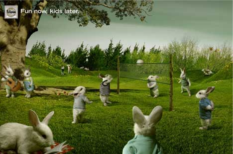 Rabbits play volleyball in Tulipan print advertisement