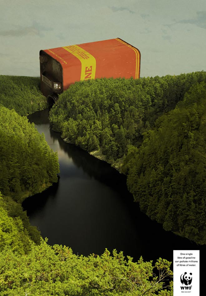 Can of gasoline pollutes a river in WWF print advertisement