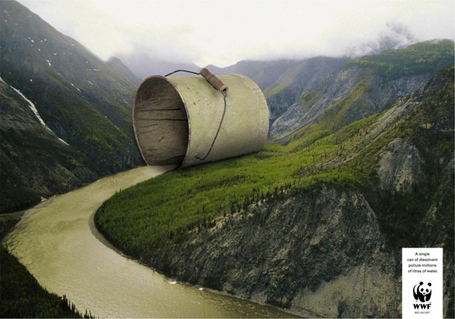Tin of solvent pollutes a river in WWF print advertisement