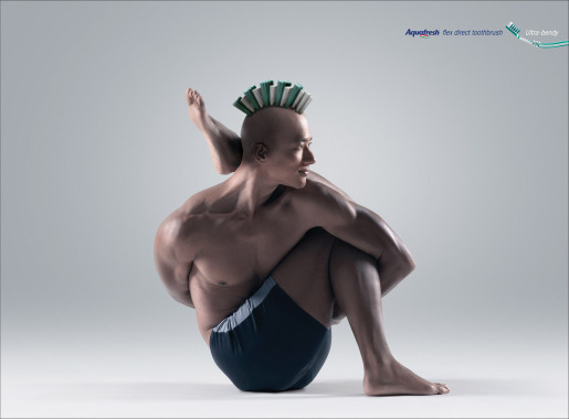 Aquafresh Yoga Master print advertisement