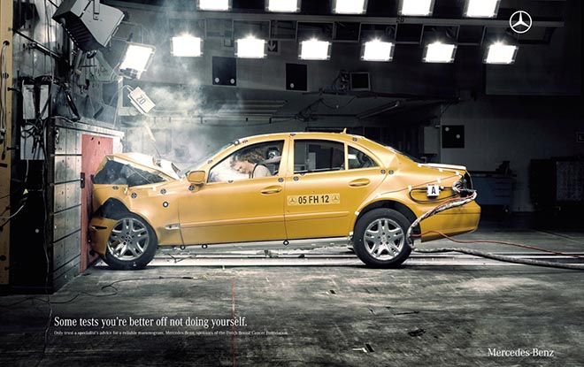 Mercedes Crash Test print advertisement encourages mammograms