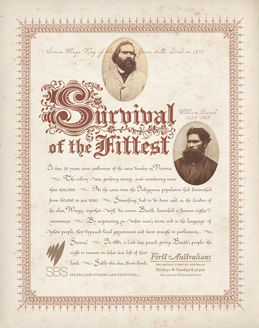 Survival of the Fittest in SBS First Australians print advertisement