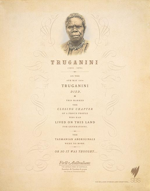 Truganini SBS First Australians print advertisement