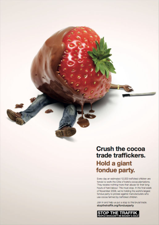 Strawberry Chocolate Fondue in Stop The Traffik print advertisement