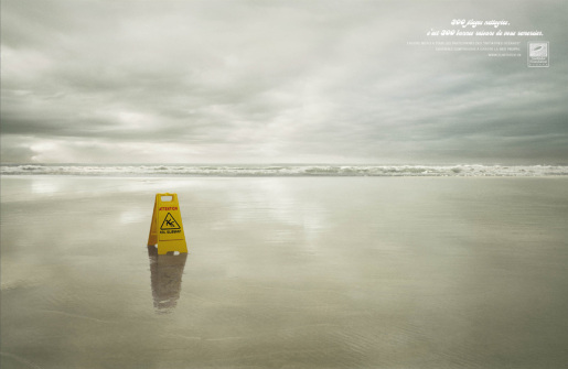 Surfrider Wet Floor print advertisement