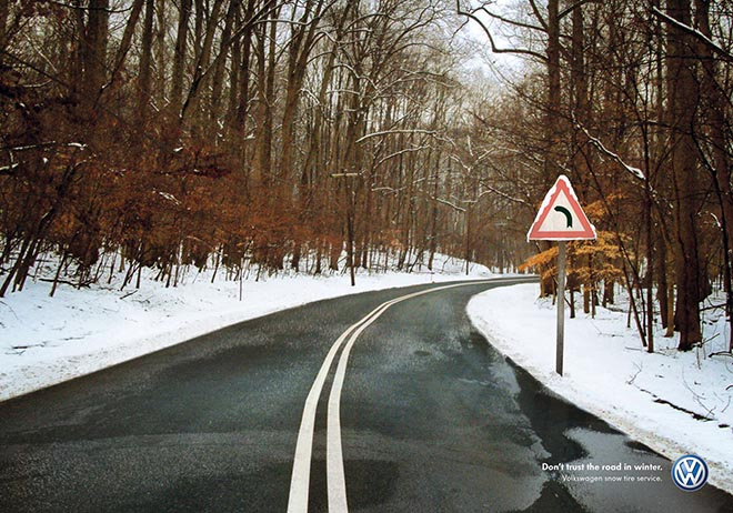 Volkswagen Snow Tire service print advertisement from Italy