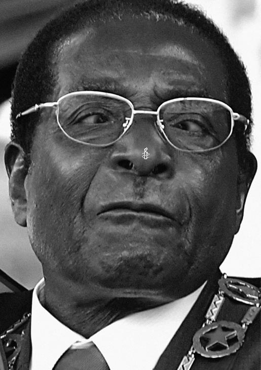Robert Mugabe in Amnesty International print advertisement