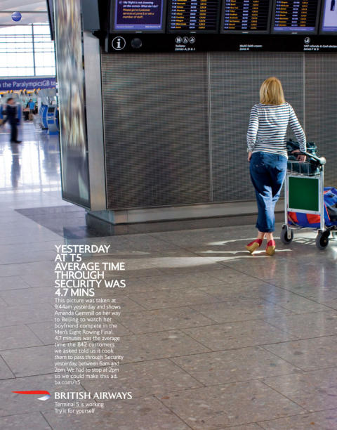 British Airways T5 Yesterday print advertisement