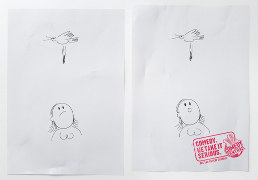 Bird dropping in MTV Comedy Central print advertisement