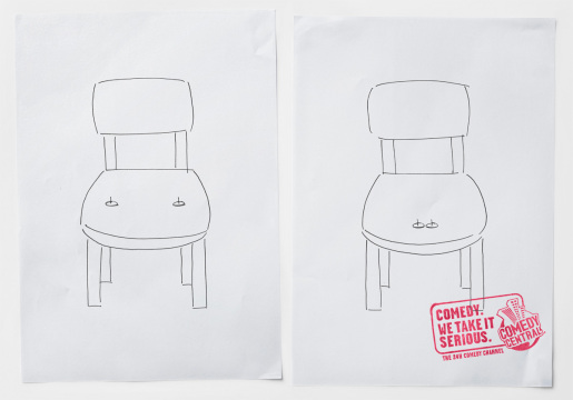 Chair tacks in MTV Comedy Central print advertisement