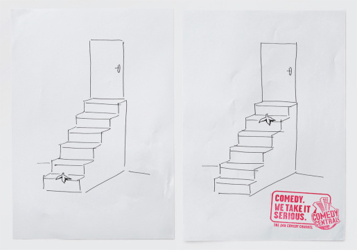 Steps and banana skin in MTV Comedy Central print advertisement