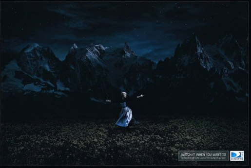Maria sings in the dark in DIRECTV print advertisement