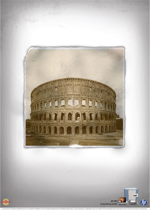 HP Leaning Colosseum print advertisement