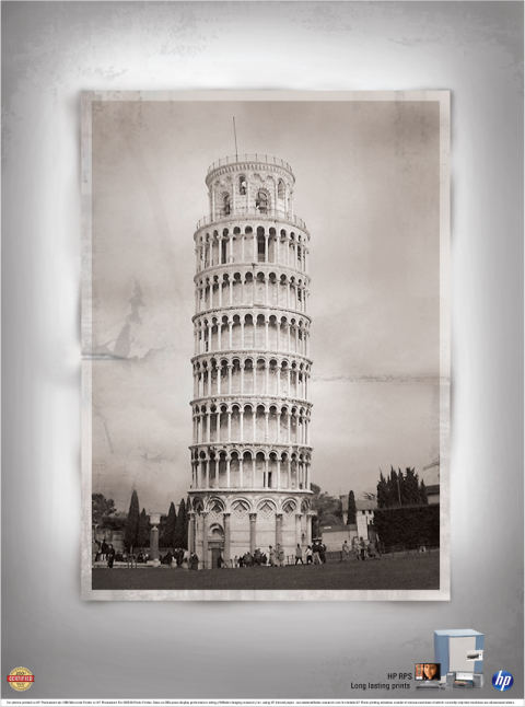 HP Leaning Tower of Pisa print advertisement