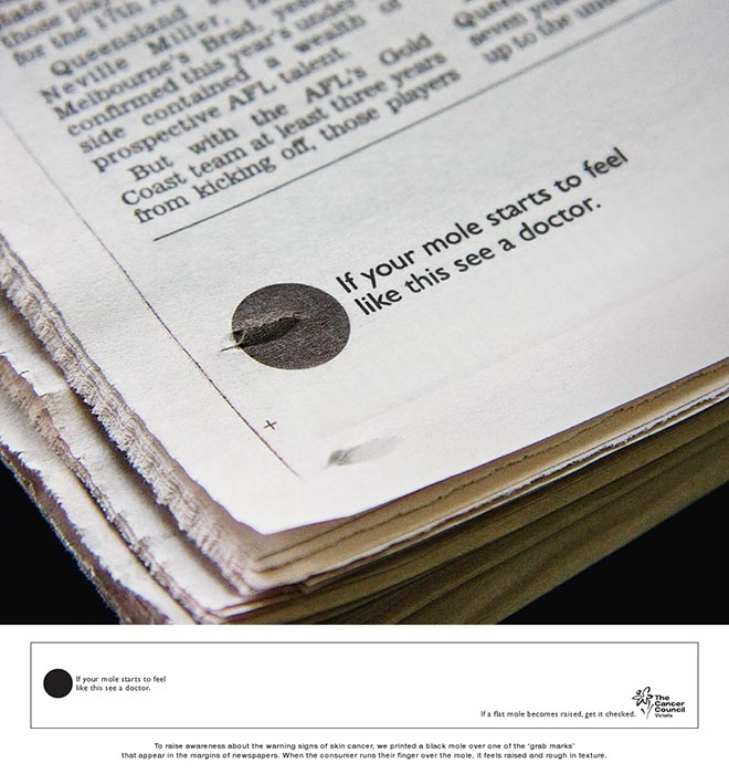 Newspaper Mole in Cancer Council print advertisement