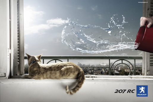 Peugeot print advertisement featuring accelerated cat