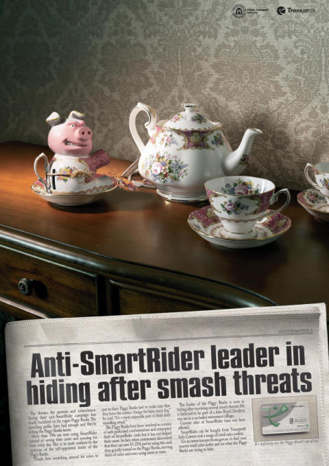 SmartRider print advertisement with hiding piggybanks