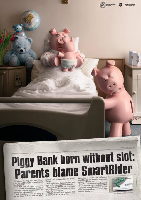 SmartRider print advertisement with slotless piggybank piglet
