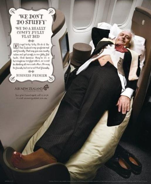 We don't do stuffy - Air New Zealand bed