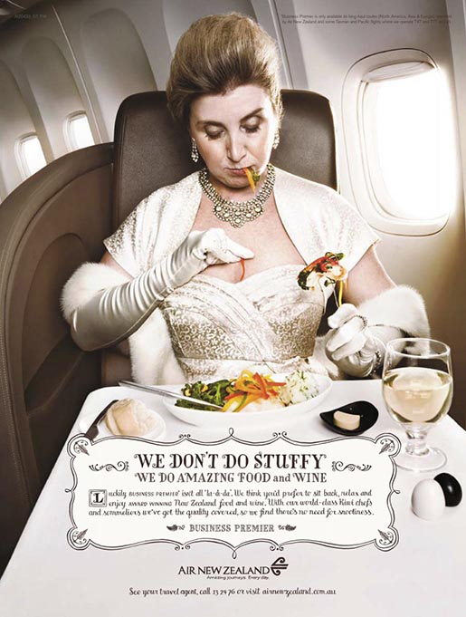We don't do stuffy - Air New Zealand sauce spill