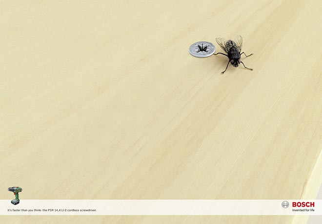 Bosch Screwdriver print ad with Fly