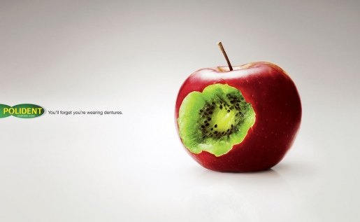 Polident Apple print advertisement from Malaysia