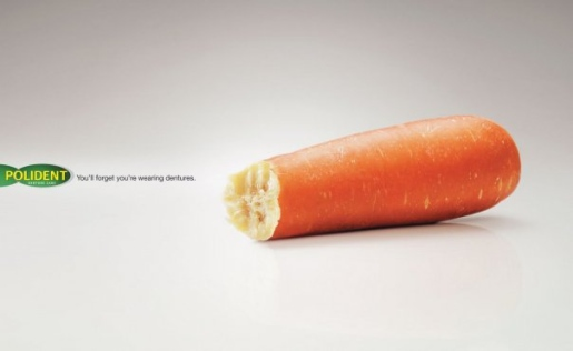 Polident carrot print advertisement from Malaysia