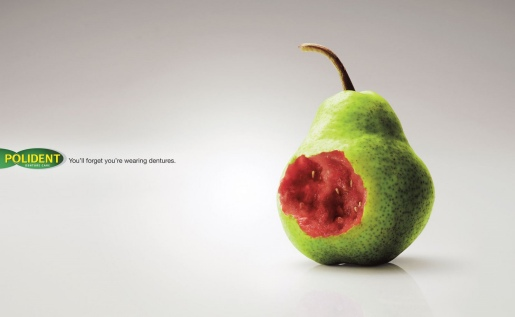 Polident Pear print advertisement from Malaysia