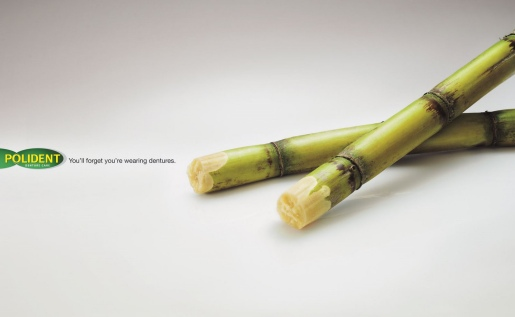 Polident Sugarcane print advertisement from Malaysia