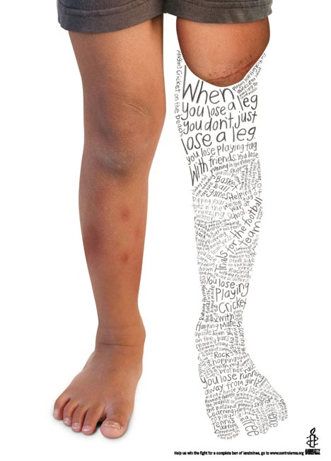 Amnesty Leg print advertisement against landmines
