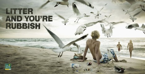 Keep Australia Beautiful beachgoer with seagulls