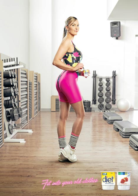 Woman in gym clothes in Nestle Diet ad