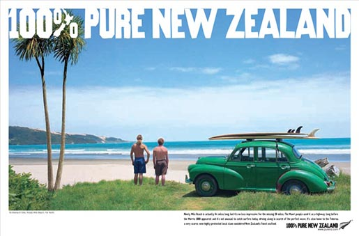 100% Pure New Zealand Morris on beach