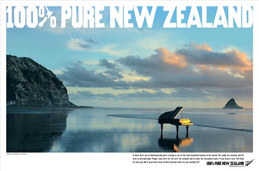 100% Pure New Zealand Piano on beach