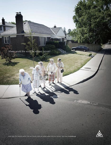 Elderly cross the road without scouts