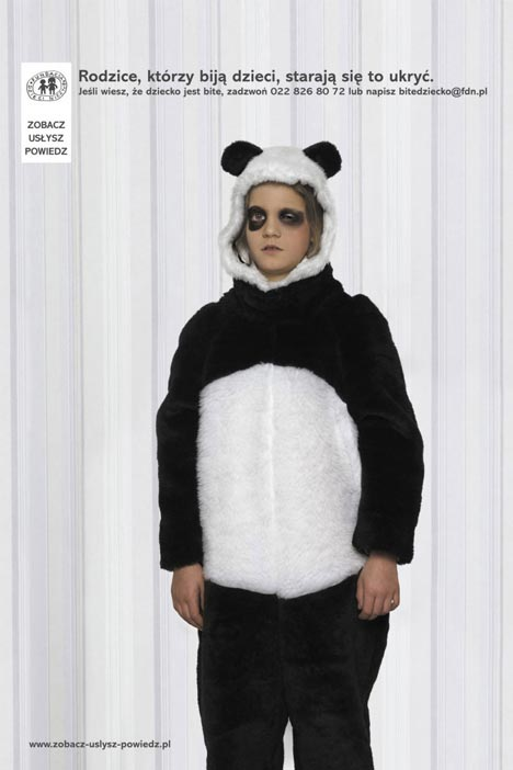 Child in Panda suit in See it Hear It Say it ad