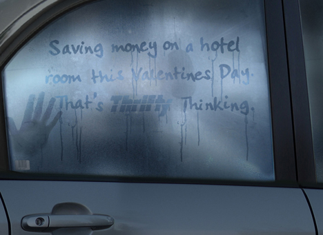 Steamed windows in Thrifty Valentines Day ad
