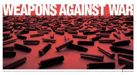 Amnesty Weapons Against War print ad