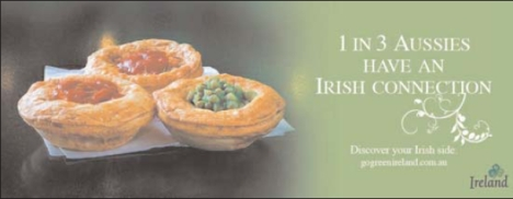 Three pies in Aussie Irish connection print ad