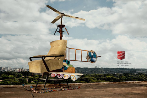 Heliocopter in Salvation Army print advertisement