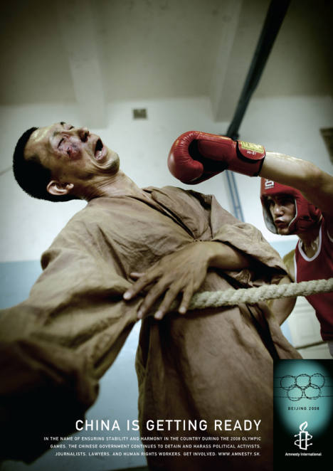 Chinese Government boxing in Amnesty International print ad